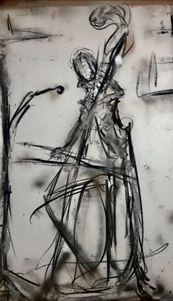 Double Bass - Painting - Helen Lack