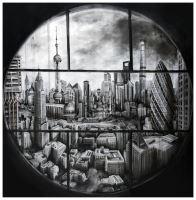 Window with cripto kitty - Painting - Fabio Giampietro