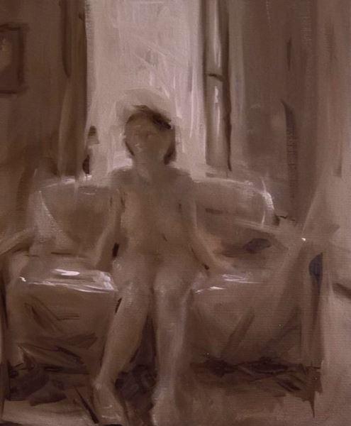 Naked on Sofa - Painting - Leo Ragno